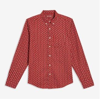 Joe Fresh Men's Print Slim-Fit Shirt, Dusty Red (Size S)