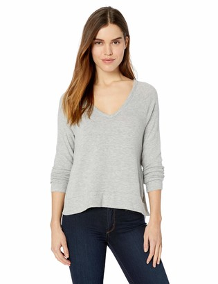 Three Dots Women's QQ2676 Brushed Sweater v-Neck top