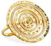 Marco Dal Maso Champagne Diamond & Green Corundum Ring in 18K Gold