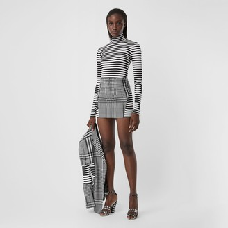 Burberry Stripe and Check Technical Wool Mini Skirt