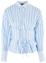Topshop Wide stripe corset shirt
