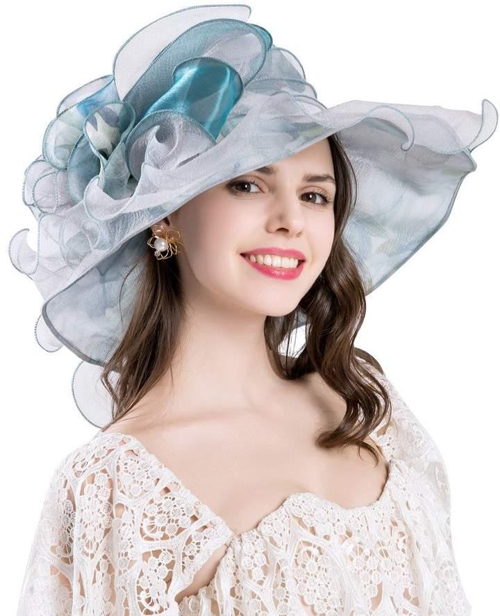 Lavender BeautyFaves Womens Church Durby Bridal Fashion Short Brim Dress Hat