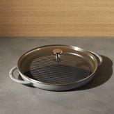 """Crate & Barrel Staub 12"""" Graphite Grey Round Steam Grill."""