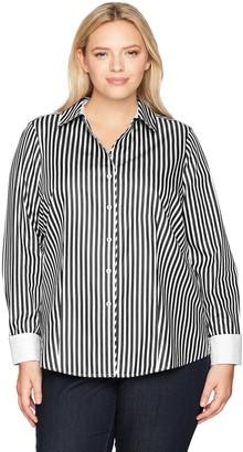 Foxcroft Women's Petite Lauren Sateen Stripe Non Iron Shirt