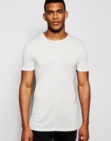 Asos Longline Muscle T-shirt In Fine Rib In Grey
