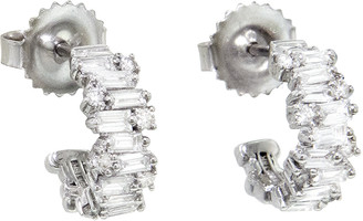 Suzanne Kalan 12mm Baguette and Round Diamond Firework Hoop Earrings - White Gold