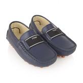 Fendi FendiBoys Blue Leather Driver Shoes