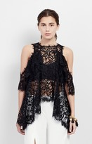 Nicole Miller Cold Shoulder Lace Top