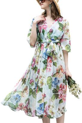 BURRYCO Silk-Blend Midi Dress