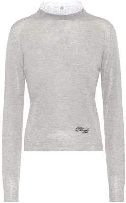 Philosophy di Lorenzo Serafini Lace-trimmed cotton sweater