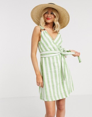 Gilli wrap front mini dress with tie waist detail in green stripe