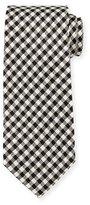 Tom Ford Textured Check Silk Tie, White/Black