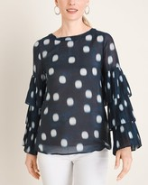 Chico's Chicos Polka Dot Pleat-Sleeve Blouse