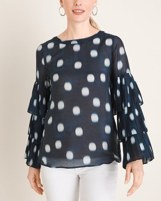 Chico's Polka Dot Pleat-Sleeve Blouse