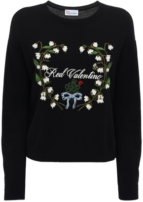 RED Valentino Embroidered Wool Blend Knit Sweater