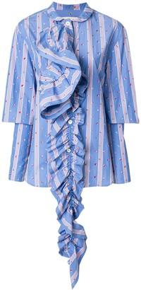 Marni Striped Ruffle Detail Shirt