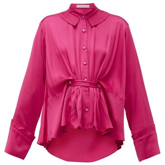 Palmer Harding Palmer//Harding Palmer//harding - Rise Belted Satin Shirt - Womens - Pink