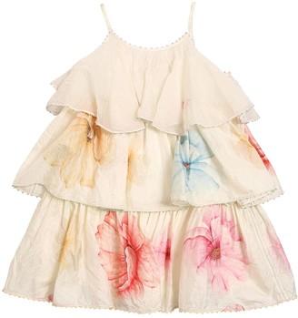 Péro Flower Print Cotton Satin Layered Dress