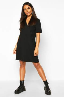 boohoo Rib Button Detail Short Sleeve Shift Dress