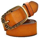Batedan genuine leather belt women strap vintage pin buckle belts for pants jeans