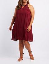 Charlotte Russe Plus Size Embroidered Bib Neck Shift Dress