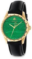 Gucci Le Marche des Merveilles Synthetic Malachite, Goldtone PVD & Leather Strap Watch