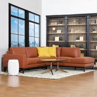 Brayden Studio Lorimer Leather Sectional Sofa Fabric: Brown, Orientation: Right Hand Facing