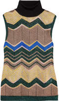 Missoni Metallic Crochet-knit Turtleneck Top - Camel