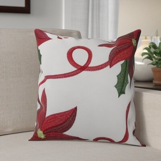 The Holiday Aisleâ® Bloomy Decorative Christmas Throw Pillow Cover The Holiday AisleA Color: White