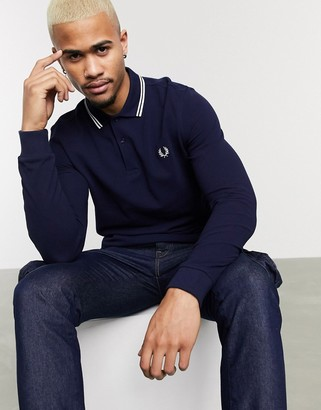 Fred Perry long sleeve twin tipped polo shirt in navy