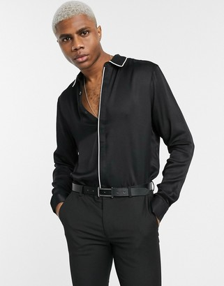 ASOS DESIGN regular fit viscose sateen shirt with contrast piping detail in black