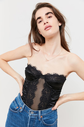 Out From Under Satin And Lace Ruched Bustier