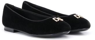 Dolce & Gabbana Logo Embellished Ballerina Shoes
