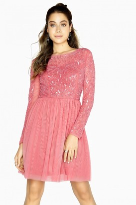 Little Mistress Eliza Pink Hand-Embellished Prom Dress