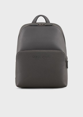 Giorgio Armani Full-Grain Leather Backpack With External Pocket