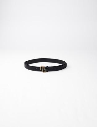 Maje Leather belt with monogram buckle