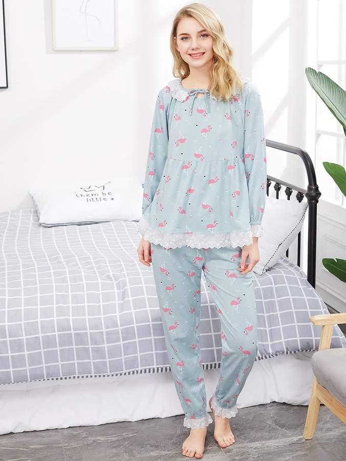 Flamingo Print Lace Trim Babydoll Top & Pants