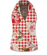 Udear UDEAR Women's Blouses Print - Red & White Gingham & Floral V-Neck Halter Top - Women & Plus