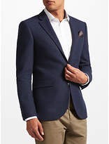 John Lewis Textured Weave Wool Tailored Jacket, Navy