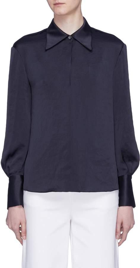 Theory Blouson sleeve crushed satin shirt