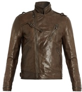Bottega Veneta Intrecciato-trimmed Leather Biker Jacket