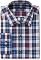 Club Room Estate Men's Classic-Fit Wrinkle-Resistant Burgandy Navy Plaid Dress Shirt, Created for Macy's