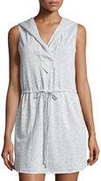 Max Studio Sleeveless Hooded Terry Cloth Dress, Gray