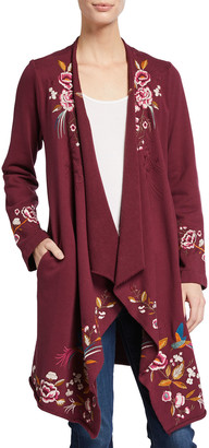 Johnny Was Adah Floral Embroidered Cardigan Coat