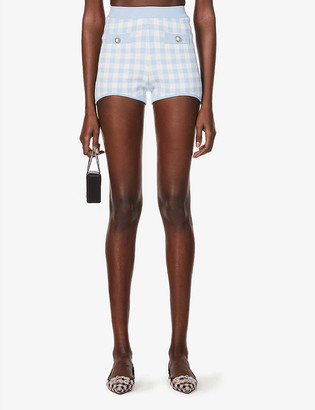 Alessandra Rich Gingham high-rise knitted shorts