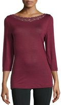 Hanro Chiara 3/4-Sleeve Top, Red Plum