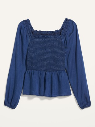 Old Navy Ruffled Square-Neck Chambray Blouse for Women