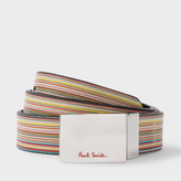 Paul Smith Men's Black And Signature Stripe Leather Cut-To-Fit Reversible Belt Kit