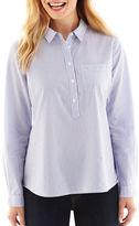 Liz Claiborne Long-Sleeve Split-Neck Popover Top