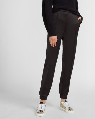 Express High Waisted Satin Seamed Front Jogger Pant